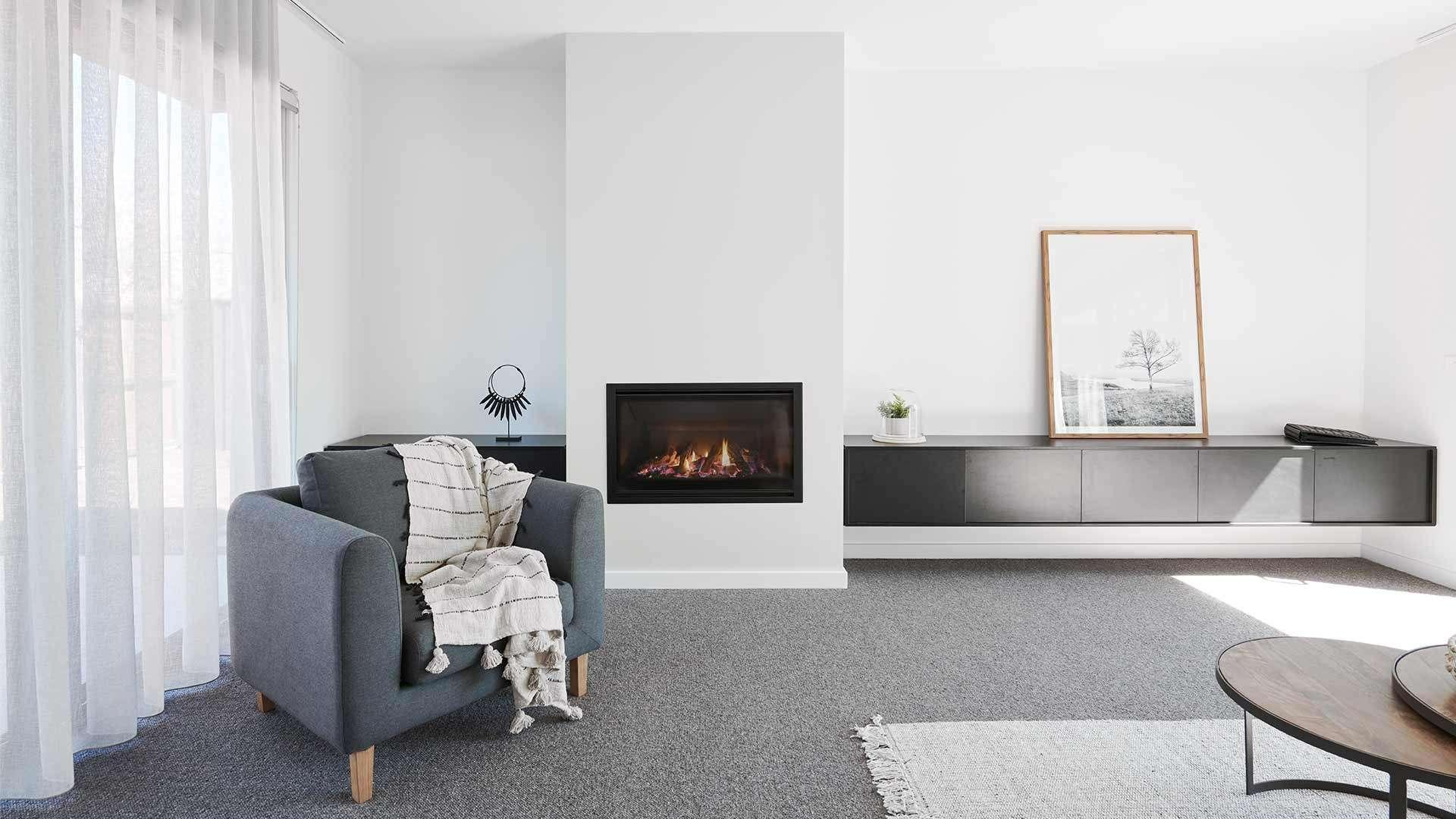 Escea DF960 indoor gas fireplace in modern living room
