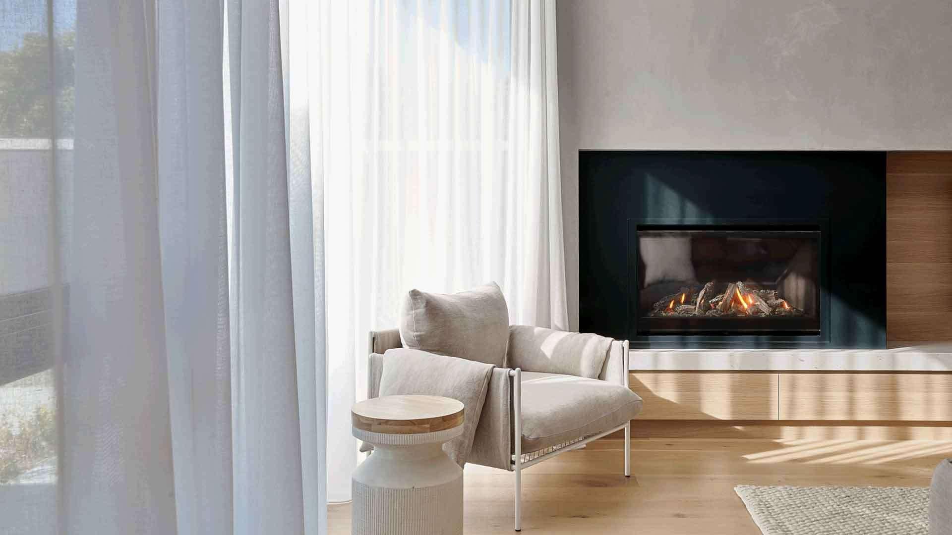 Escea DF960 indoor gas fireplace in modern room
