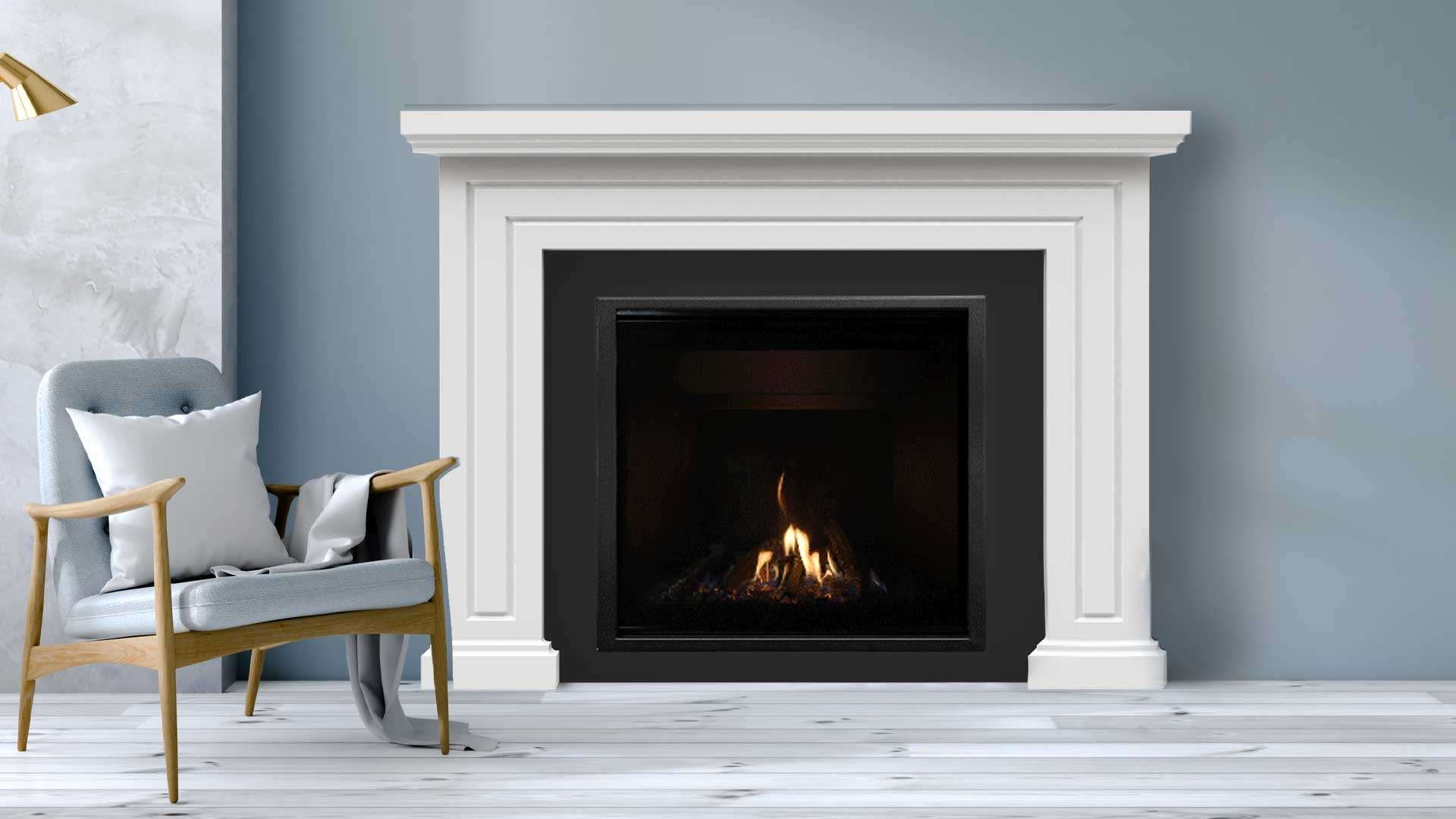 Close up of an Escea DF990 indoor gas fireplace in modern home