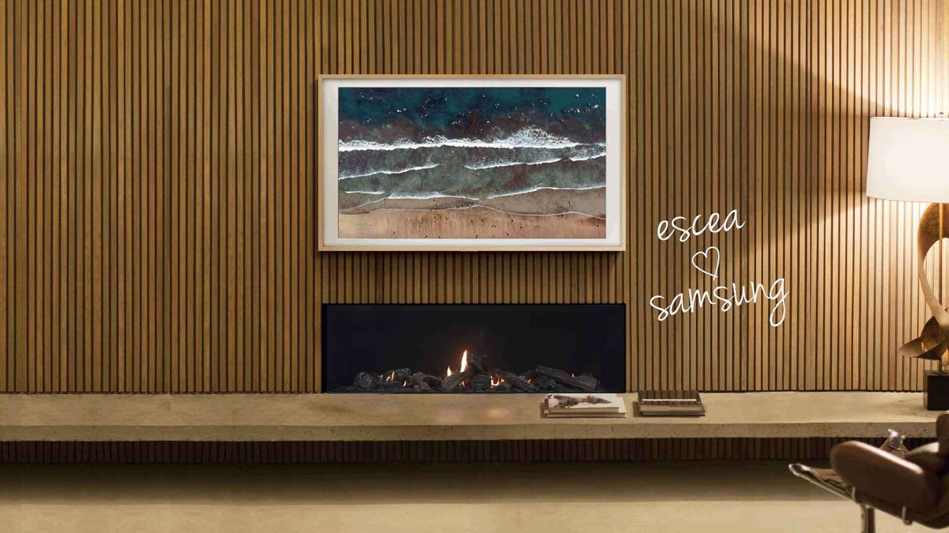 Escea DS indoor gas fireplace with a Samsung frame TV above